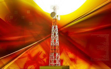 Digital illustration of mobile communication  tower in colour background   illustration