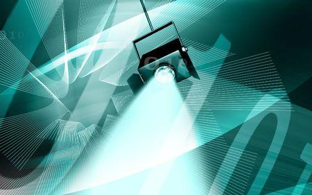 Digital illustration of  spot light in colour background  illustration