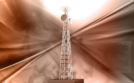 Digital illustration of mobile communication  tower in colour background  Stock Illustration - 5980978