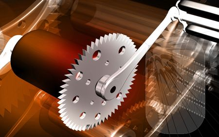 Digital illustration of  bicycle gear and pedal in colour background  illustration