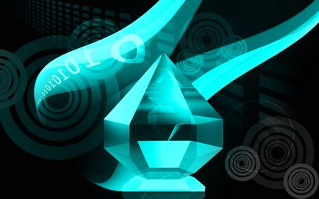 caustic: Digital illustration of refraction in a diamond in colour background