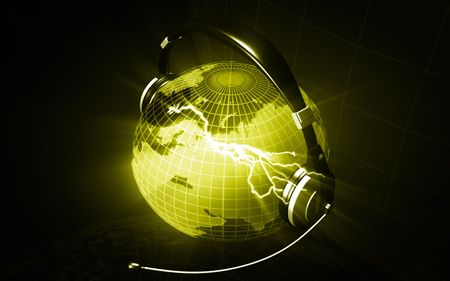 Digital illustration of a globe with head phone in colour background  illustration