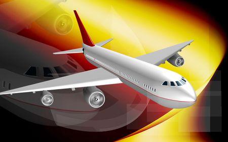 aeronautical: Digital illustration of Aeroplane with colour background