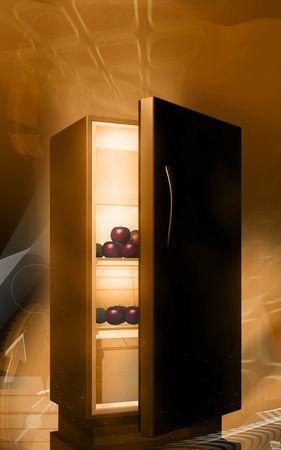 Digital illustration of fruits in a refrigerator in colour background  illustration