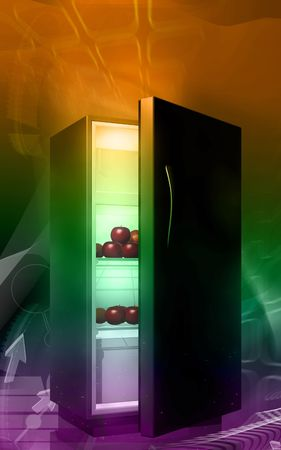 crisper: Digital illustration of fruits in a refrigerator in colour background