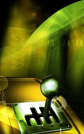 Digitale afbeelding van een voer tuig versnellings hendel beweging in de achtergrond kleur