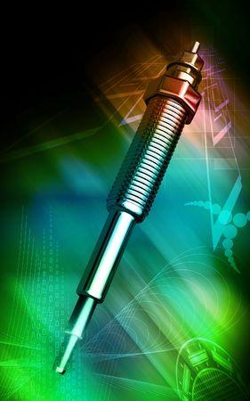 alternator: Digital illustration of a heater plug using in engines