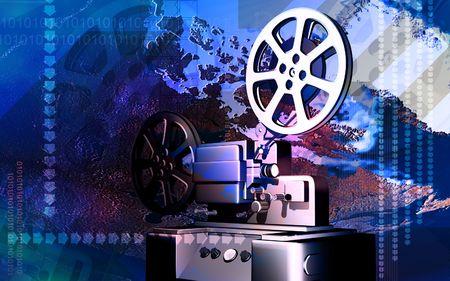 operational: Digital illustration of vintage projector in colour background