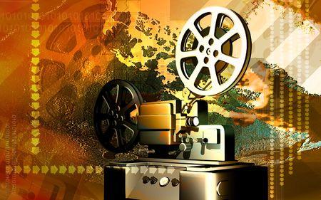Digital illustration of vintage projector in colour background