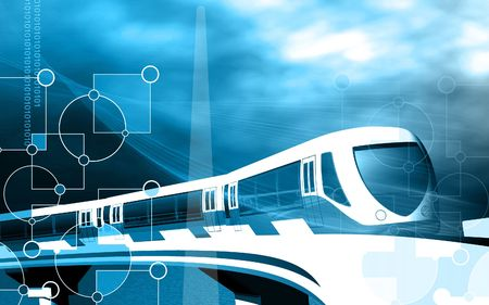 Digital illustration of a metro train in colour background