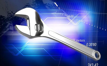 adjustable: Digital illustration of adjustable spanner in colour background