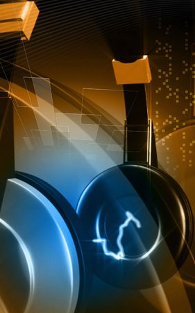 Digital illustration of headphone  in colour background  illustration