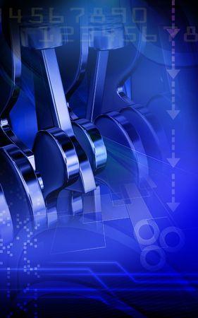 pistones: Ilustraci�n digital de pistones trabajan motores en el fondo de color