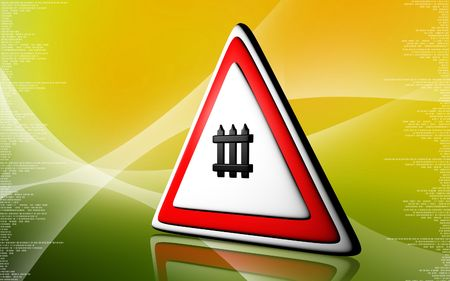 Digital illustration of Warning sign in colour background  illustration
