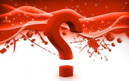 Digital illustration of question mark sign in colour background Stock Illustration - 6144946