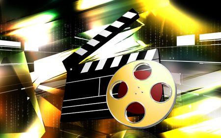 色の背景のフィルムのデジタル イラストレーション 写真素材