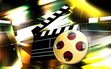 entertainment: Digital illustration of   film in   colour background