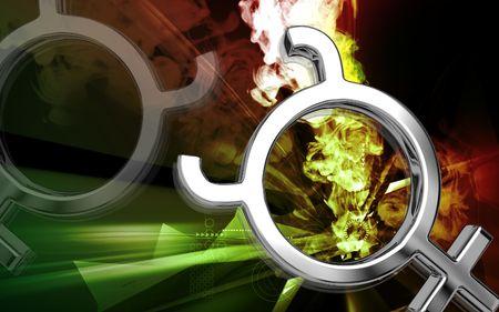 Digital illustration of planet symbol in colour background Stock Illustration - 6144731