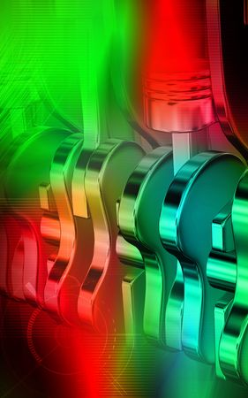 exhaust valve: Digital illustration of pistons working engines in colour background  Stock Photo