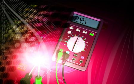 multimeter: Digital illustration of  a multi meter in background