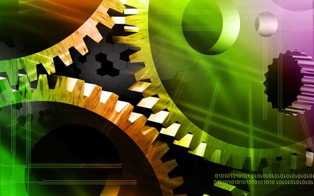 Digital illustration of gears in a dial watch Stock Illustration - 6146893