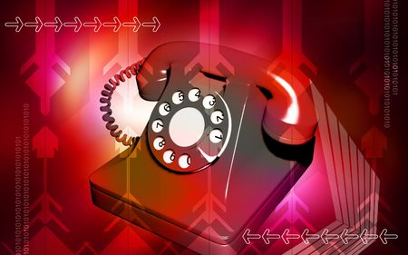 shiver: Digital illustration of telephone in colour background