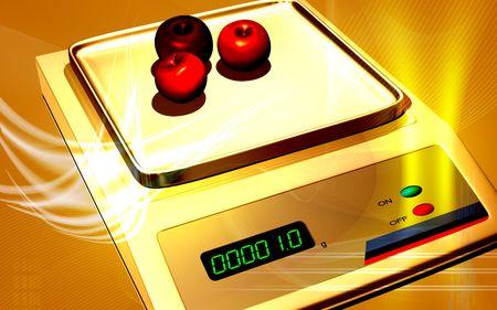 electronic balance: Digital illustration of Electronic  balance in colour background