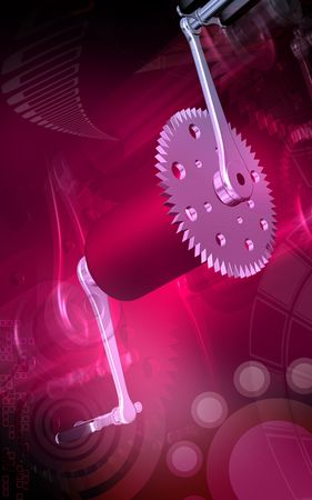 Digital illustration of  bicycle gear and pedal in colour background Stock Illustration - 6172068