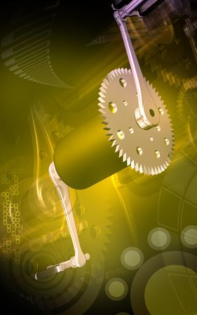 pedal: Digital illustration of  bicycle gear and pedal in colour background  Stock Photo