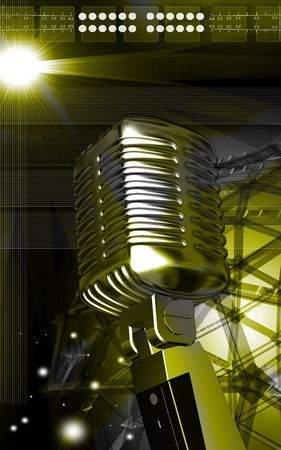 Digital illustration of steel microphone in colour background  illustration