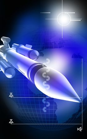 Digital illustration of rocket in colour background  illustration