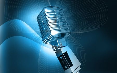 Digital illustration of steel microphone in colour background Stock Illustration - 6246657
