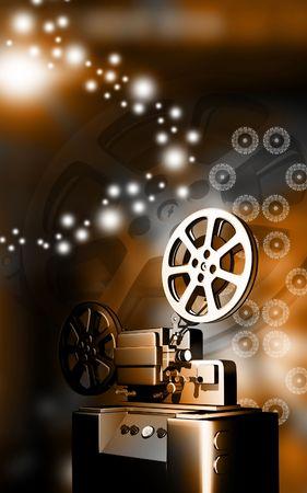 film production: Digital illustration of vintage projector in colour background