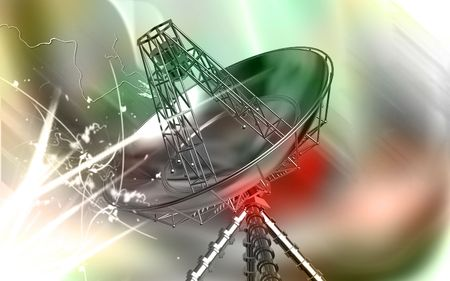 Digital illustration of an antenna in colour background  illustration