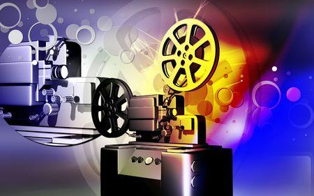 Digital illustration of vintage projector in colour background  illustration