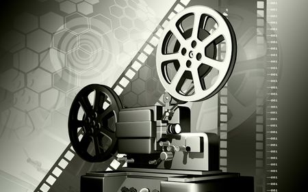 film history: Digital illustration of vintage projector in colour background