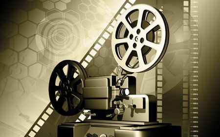 film production: Digital illustration of vintage projector in colour background