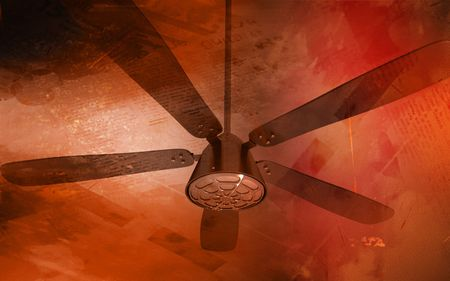 Digital illustration of ceiling fan in colour background Stock Illustration - 6246926