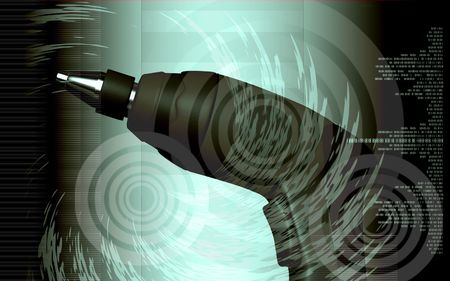 drill bit: Digital illustration of Cordless drill in colour background   Stock Photo