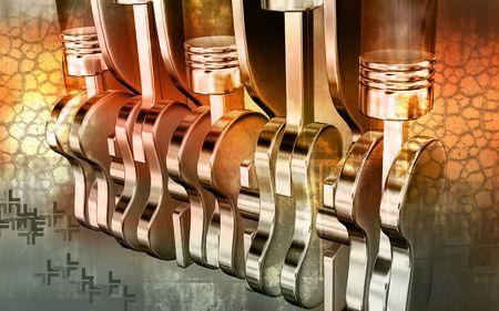 Digital illustration of pistons working engines in colour background  illustration