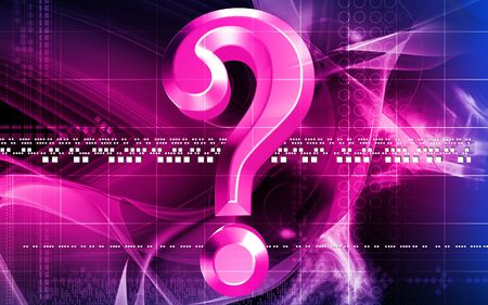 Digital illustration of question mark sign in colour background  illustration