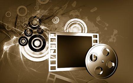Digital illustration of   film in   colour background  illustration