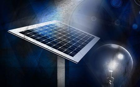 radio activity: Digital illustration of solar lamp  in colour background