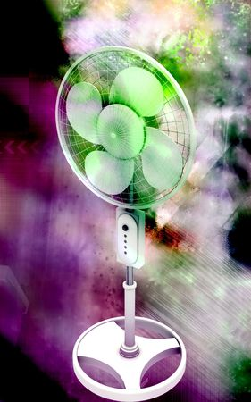 Digital illustration of  a pedestal fan in colour background Stock Illustration - 6324732