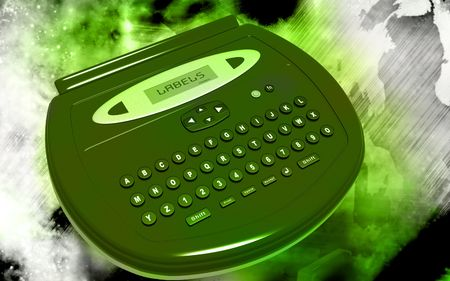Digital illustration of  a Label maker  in colour background   illustration