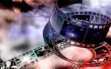 compression: Digital Illustration of Film in colour background