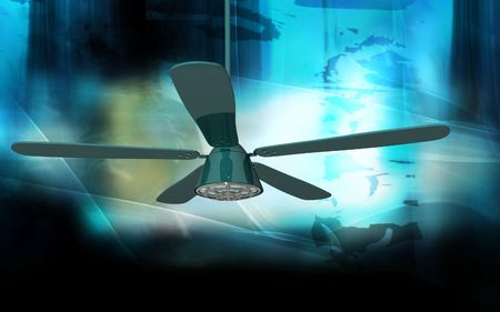 Digital illustration of ceiling fan in colour background Stock Illustration - 6324600