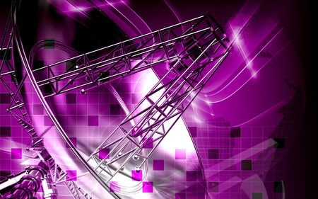 Digital illustration of an antenna in colour background  illustration