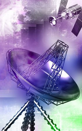 erect: Digital illustration of an antenna in colour background