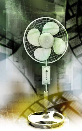 Digital illustration of  a pedestal fan in colour background Stock Illustration - 6324813